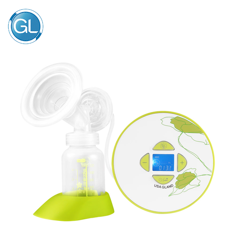 GL New Single Breast Pump Electric Milk Pump Automatic Baby Breast Feeding Pump 120ML Bottle 10 Levels Suction with Music Play
