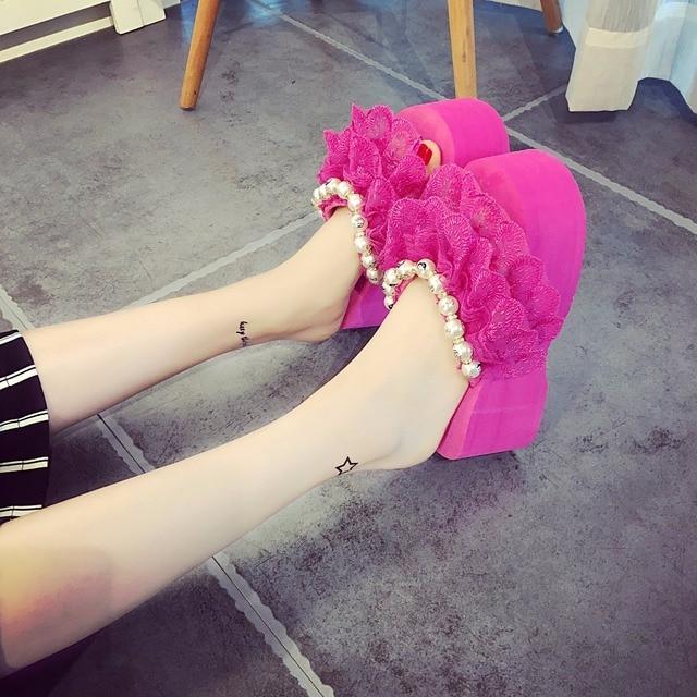 856f4fb99 Sapatos bonitos Mulher Flip Flop Plataforma Zapatillas Engraçado Chinelo  Sapatos Sandalias Mujer Sandalias Femininas Moda Verão