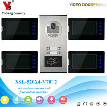 YobangSecurity 1 Camera 4 Monitor Video Intercom 7″Inch Video Door Phone Doorbell Chime RFID Access Control For Home Security