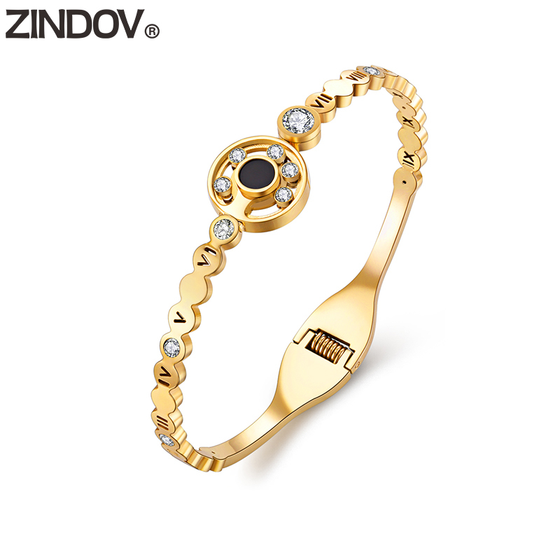 ZINDOV Fashion Jewelry Stainless Steel Bracelets Gold Crystal Open Gift Mother Drop shipping Factory Rose Gold Bangles For Women