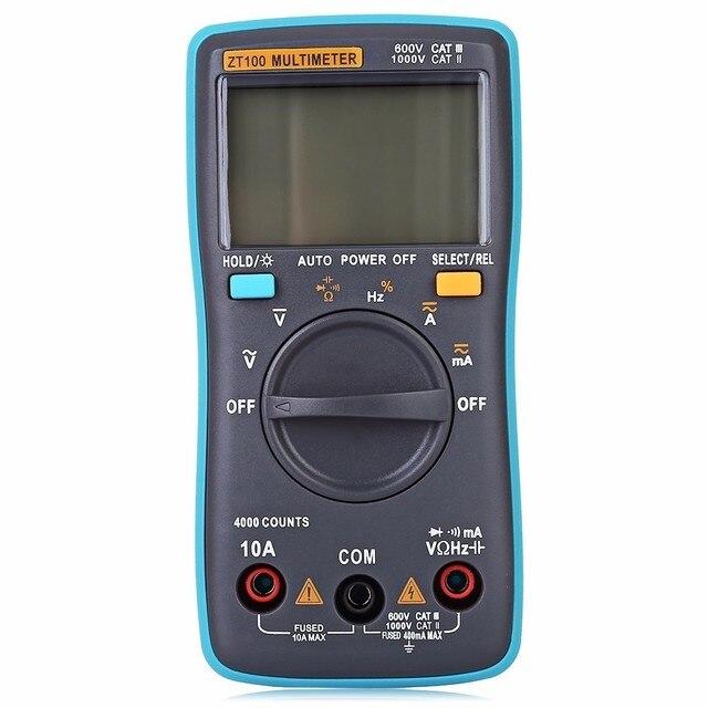ZT100 Portable LCD Screen Digital Multimeter 4000 uF Current Voltage Ohm Tester Auto Range Ammeter New