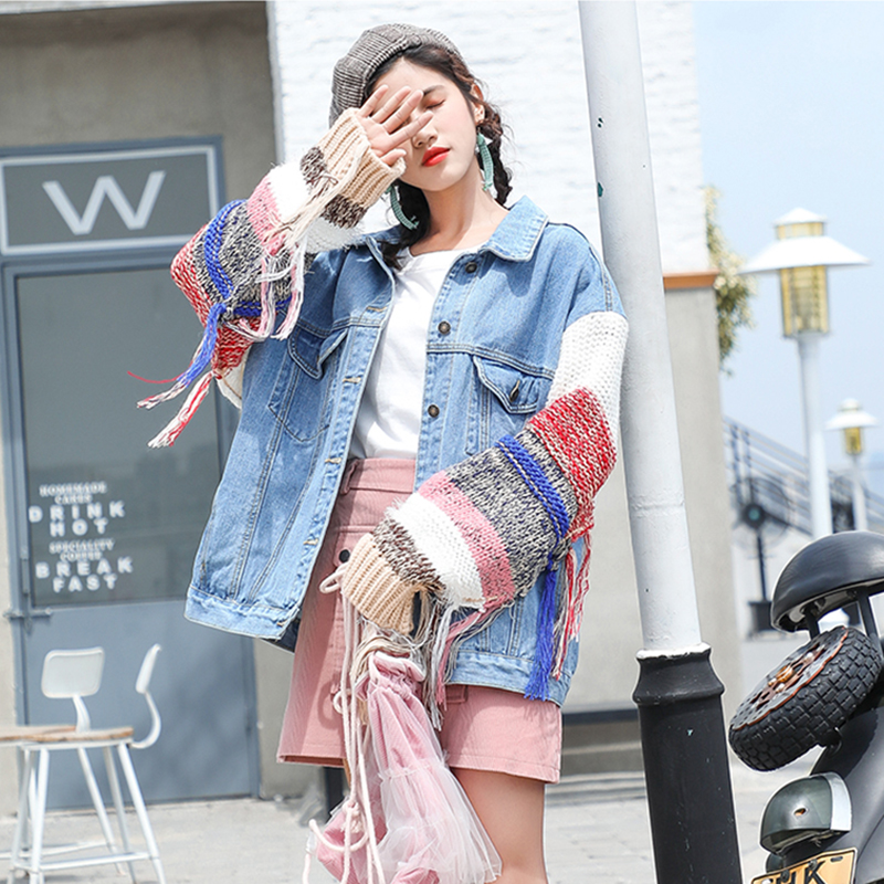 Manches 2018 Outwear Jean Dark Blue Oversize En Nouveau Manteau Veste Automne Hiver Laine Femmes Lâche Bf Blue light Longues Vintage Harajuku w16dqI6g