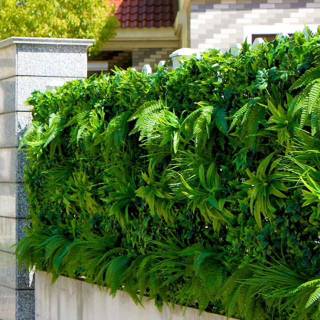 outdoor artificial plant walls leaves fence 1x1m uv proof diy vertical garden wall ivy panels screen - Garden Wall