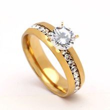 New Arrival 316L Stainless Steel Ring with CZ diamond Fashion For Ladies wedding engagement ring gold color jewelry