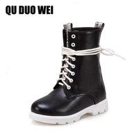 QUDUOWEI 2018 Sapatos Mulher Das Mulheres de Couro PU Botas De Motociclista Preto branco Sapatos de Salto Baixo Lacing Ankle Boots Outono Para As Mulheres sapatos