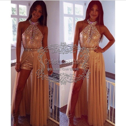 2017 New Gold Lace Sequined Beading High Neck Off Shoulder Side Cut ...