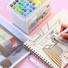 12-60 Colors Watercolor Dual Tip Art Marker Pen Highlighters Painting Drawing School Supplies Office Design Painted 4310