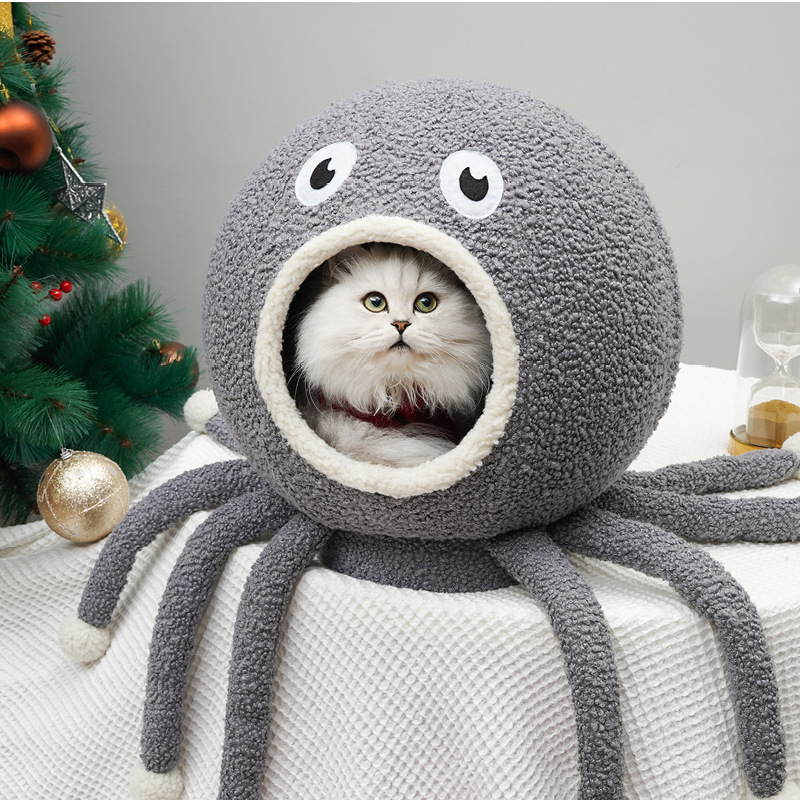 Cat Cave  Pet Dog Cat Bed  Cat House  Mat Outdoor  Cat Bed House Tent Squid Shape Pet House Dropshipping