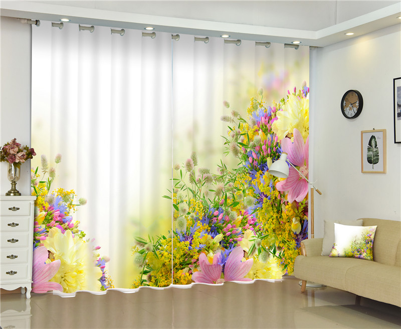 2017 Pretty flowers 3D Blackout Curtains For Living room Bedding room Decor Tapestry Wall Carpet Drapes Cotinas2017 Pretty flowers 3D Blackout Curtains For Living room Bedding room Decor Tapestry Wall Carpet Drapes Cotinas