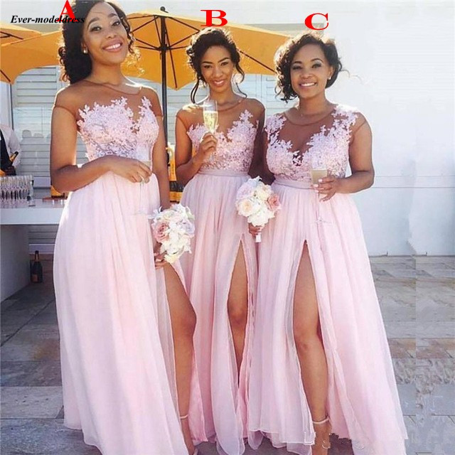 Pink Beach Bridesmaid Dresses Long 2019 Sexy A-Line Side Split Sheer O-Neck Appliques Gorgeous Wedding Guest Party Dreses Cheap