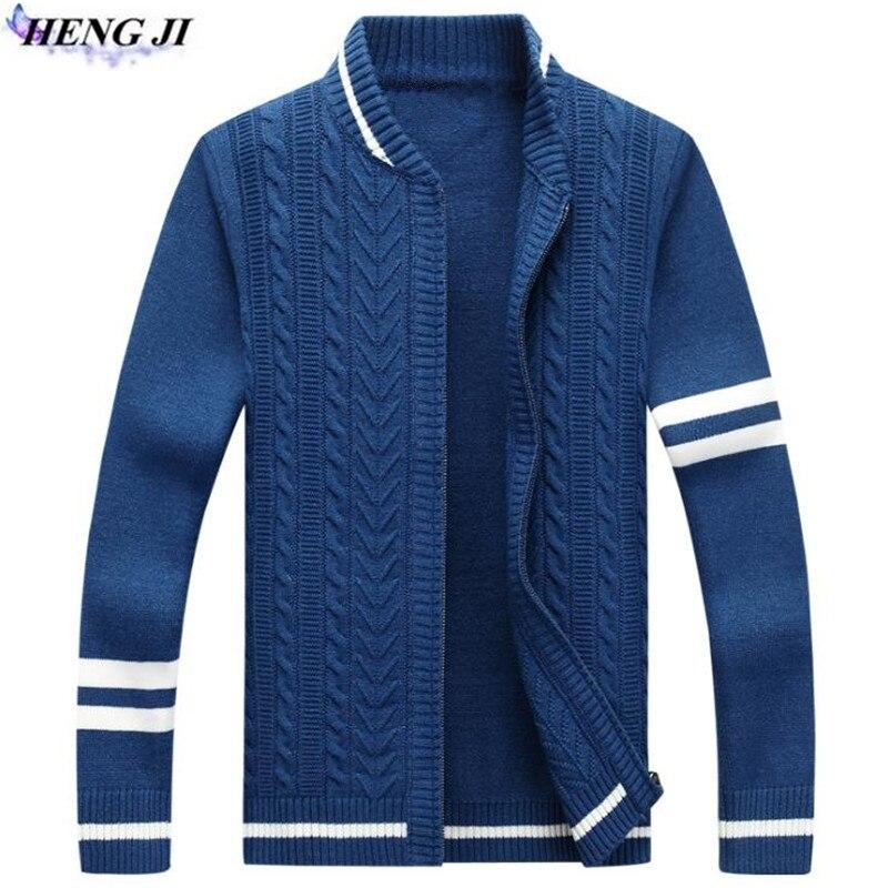 HENG JI 2017 new font b men s b font zipper knit cardigan leisure collar long