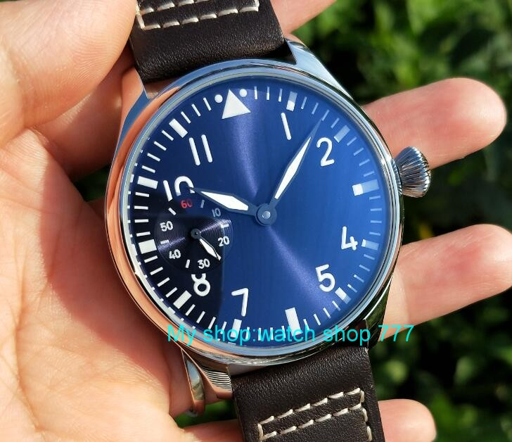 Butterfly buckle 44mm PARNIS Blue dial pilot 6497 Asian Hand Wind movement mechanical men s watch