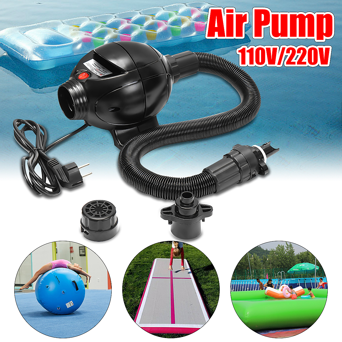 110V/220V Electric Air Pump For Air Track Inflatable Home Gymnastics Tumbling Mat high quality 4 1 0 2m inflatable air track gymnastics air track trampoline for water games
