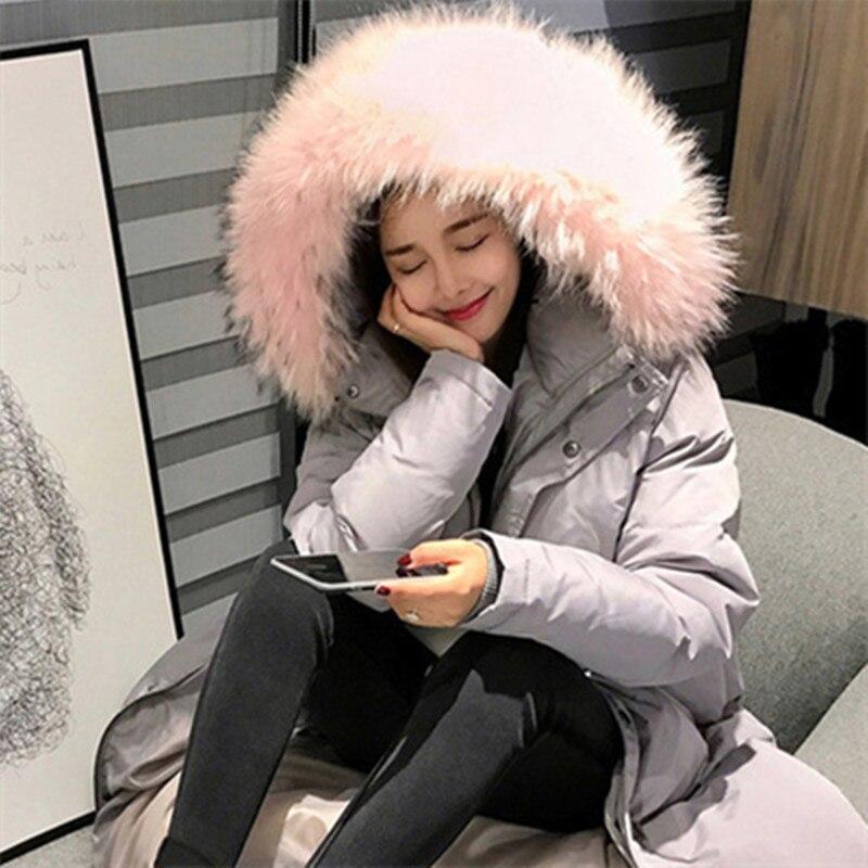 Femelle Fourrure De Femmes Solide Mode Veste Hiver Vestes gray Col Chaud Parkas Black Longues Grand Manteau Outwear À D'hiver Capuchon Jw01 2018 8q5tnOwSq