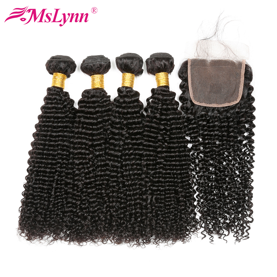 4 Bundles With Closure Afro Kinky Curly Hair With Closure Malaysian Hair Bundles With Closure Human