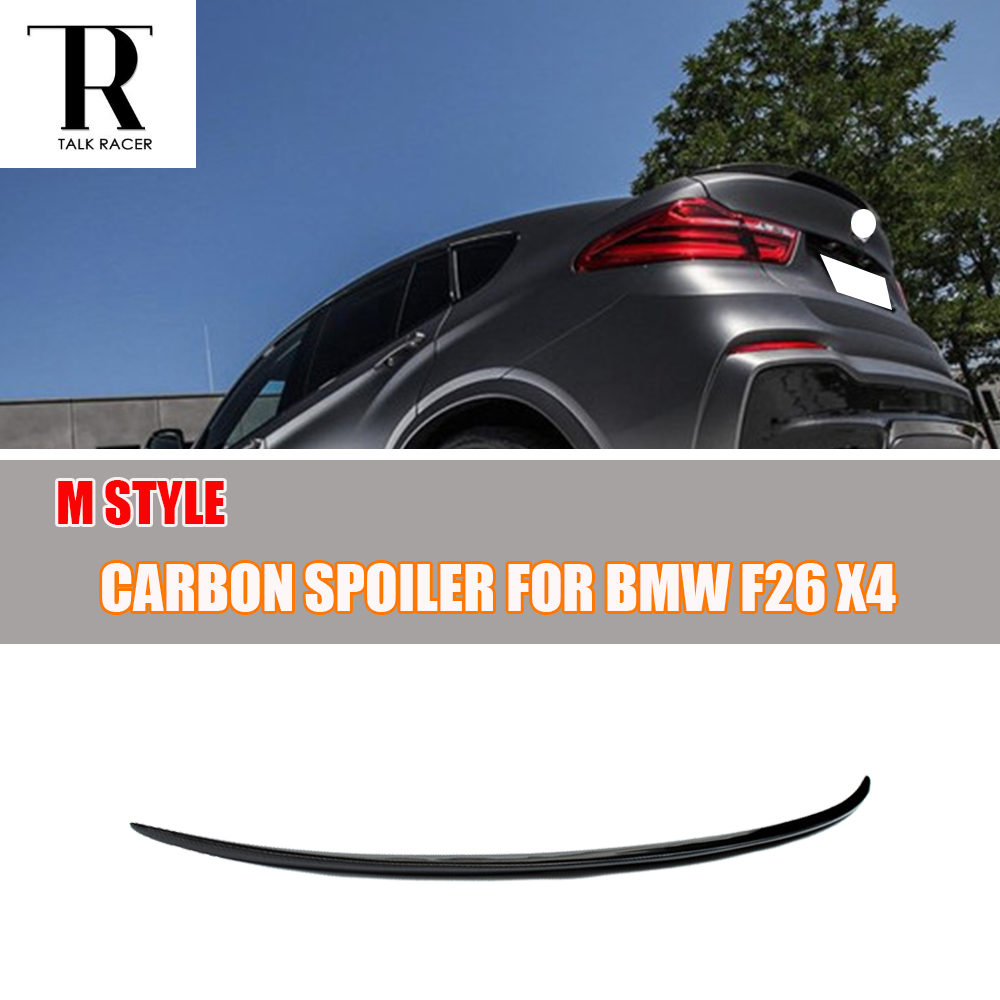 X4 F26 M Style Carbon Fiber Rear Spoiler for BMW X4 20i 28i 35i 20d 30d 35d 2014 2015 2016 Car-Styling carbon fiber car rear bumper extension lip spoiler diffuser for bmw x6 e71 e72 2008 2014 xdrive 35i 50i black frp