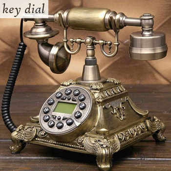 European Fashion Vintage fixed Telephone revolve Dial Antique Telephones Landline Phone For Office Home Hotel made of resin