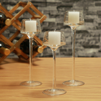 3PCS Set Crystal Glass Candle Holder Decorative Candle Vase Tall Candleholder Wedding Home Bar Party Decoration Candlestick