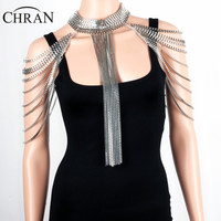 Chran Women Exaggerated Gold Silver Tone Beach Bikini Full Bra Belly beach Chain Shoulder Necklace Tassel Jewelry Wholesale