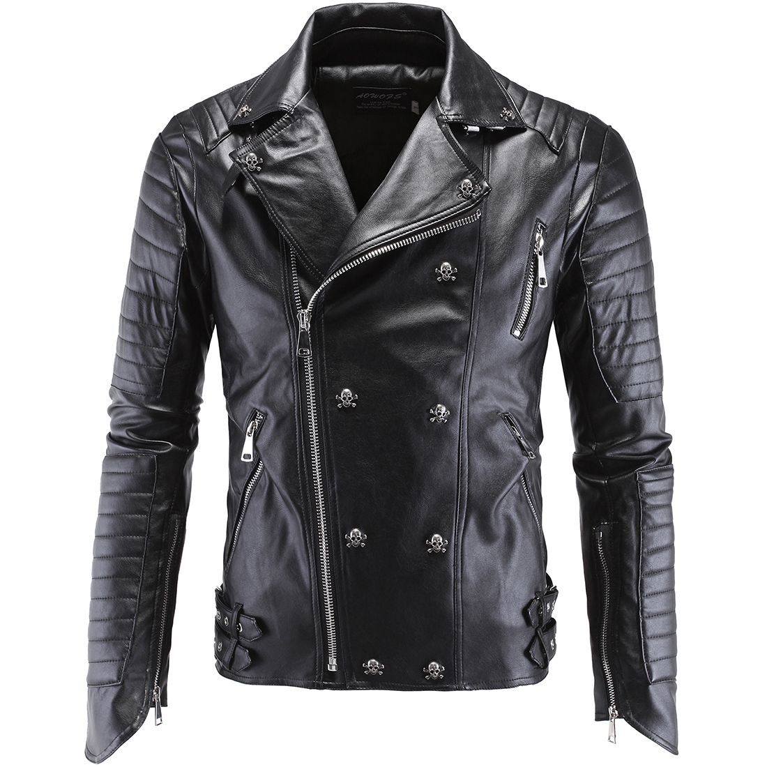 Fashion Men's Winter Leather Double Breasted Jackets Faux Jacket Stylish Slim Fit Coats Men Moto Skull Suede Jacket For Men