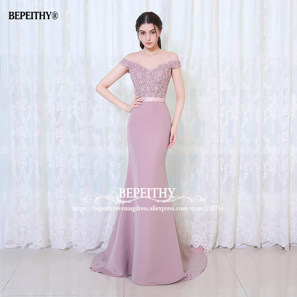 BEPEITHY Robe De Soiree Mermaid Burgundry Long Evening Dress Party - Հատուկ առիթի զգեստներ - Լուսանկար 4