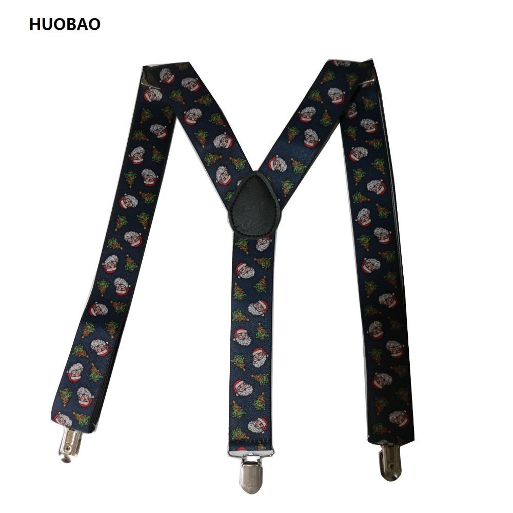 Free Shipping2017 New Men Adjustable 3.5cm Wide Heavy Duty Y-Back Fashion Santa Claus  Suspenders For Mens