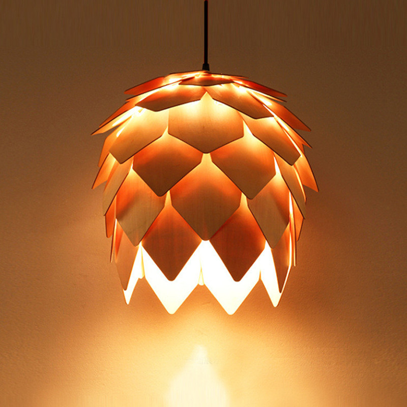 Wooden Pinecone Pendant Lights Hanging DIY IQ Elements Jigsaw Puzzle Wood PH Artichoke Lamps Dinning Room Restaurant Fixtures denmark antique pinecone ph artichoke oak wooden pineal modern creative handmade wood led hanging chandelier lamp lighting light
