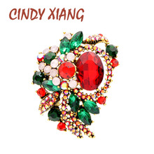 CINDY XIANG 2 Colors Avaible Red And Green Crystal Color Flower Brooches For Women Vintage Fashion Christmas Style Pins Gift