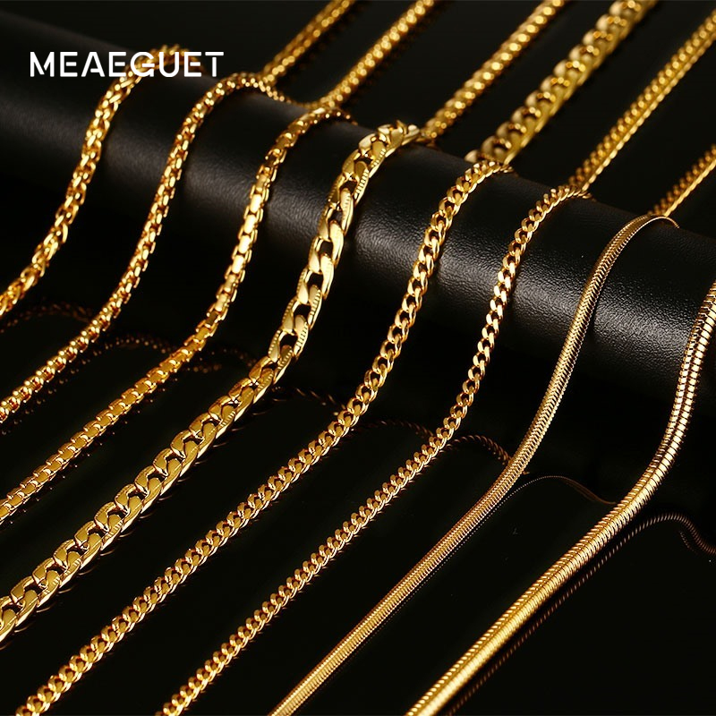 Meaeguet Gold-Color Snake/Box/Hanging/Curb/Flat/Twist Necklaces With Stamp For Men Women Stainless Steel Chain 24inch