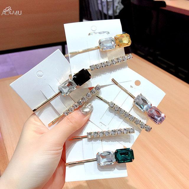 AOMU 2 шт. Корея Мода красочные кристалл шпильки со стразами для женщин геометрический прямоугольник заколки для волос Металл золото аксессуары для волос