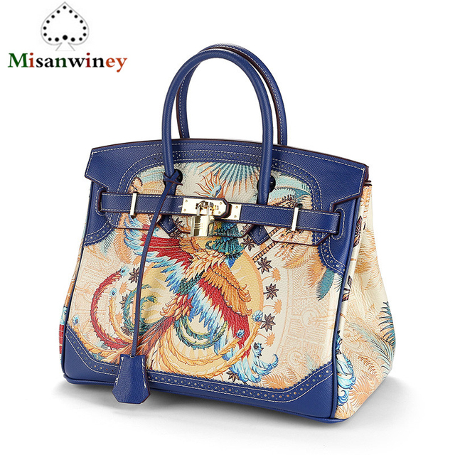 Panelled Animal Prints Cow Leather Messenger Bags for Women Blue Designer  Handbags Genuine Leather Platinum Tote Bags Sac A Main 7dd2eab4ff