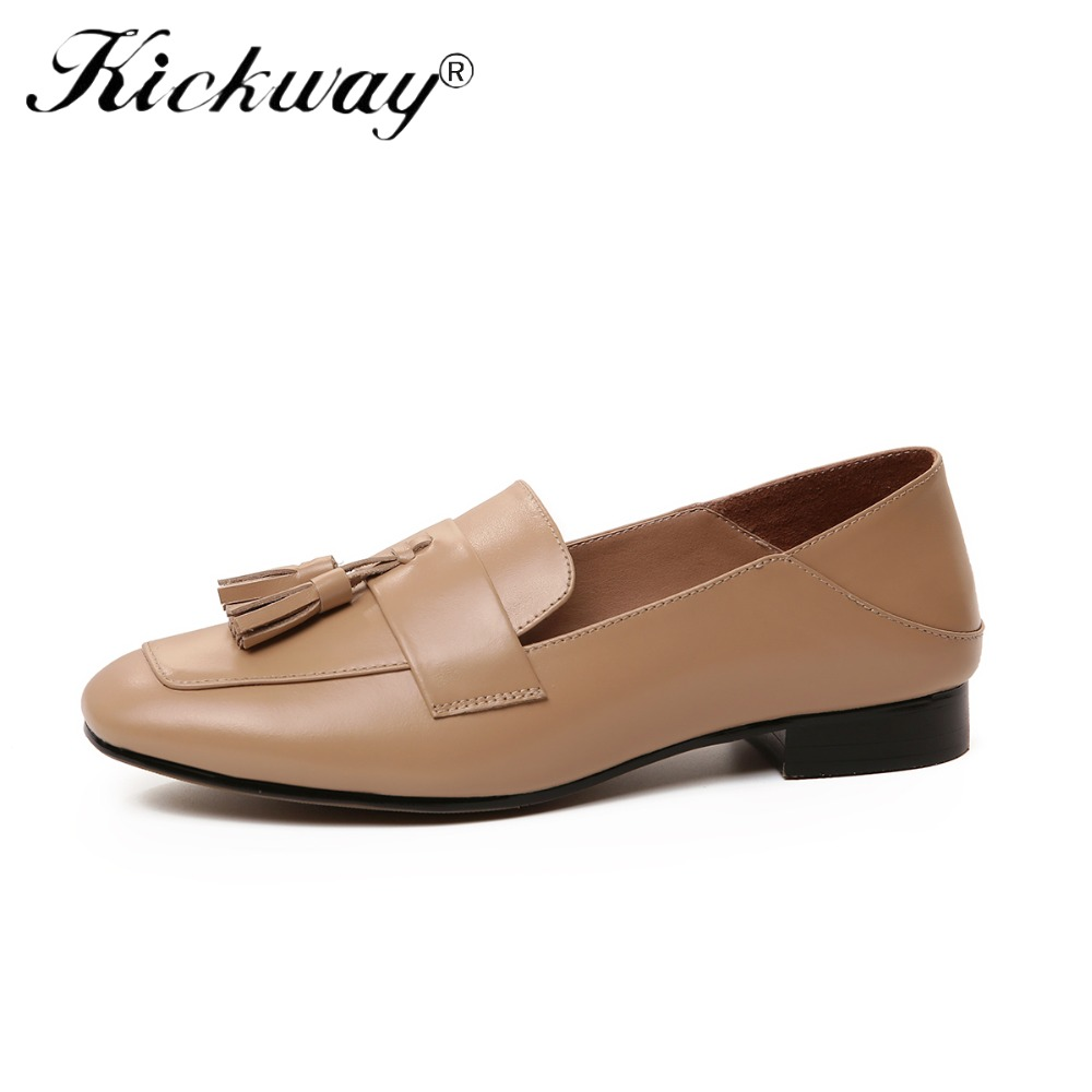 Kickway Women Boat Shoes Cow Leather Slip on Square Toe Ladies Casual Flats Flower Sheep Skin Inside Shoes For Ladies Size 34-42 цена
