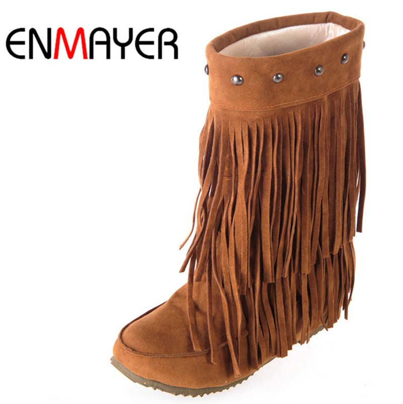 ENMAYER Women's 3 Layer Fringe Tassels Flat Heel Boots Round Toe Mid-Calf Snow Boots Shoes Big Size34-43 Winter Boots for Women ethnic style fringe and criss cross design mid calf boots for women