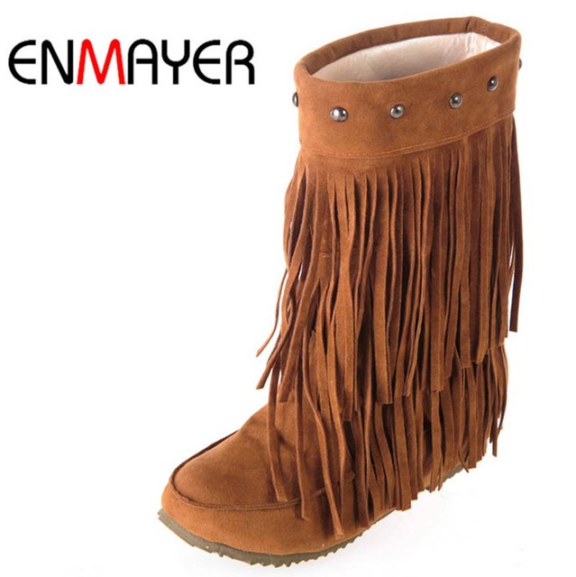 ENMAYER Women's 3 Layer Fringe Tassels Flat Heel Boots Round Toe Mid-Calf Snow Boots Shoes Big Size34-43 Winter Boots for Women