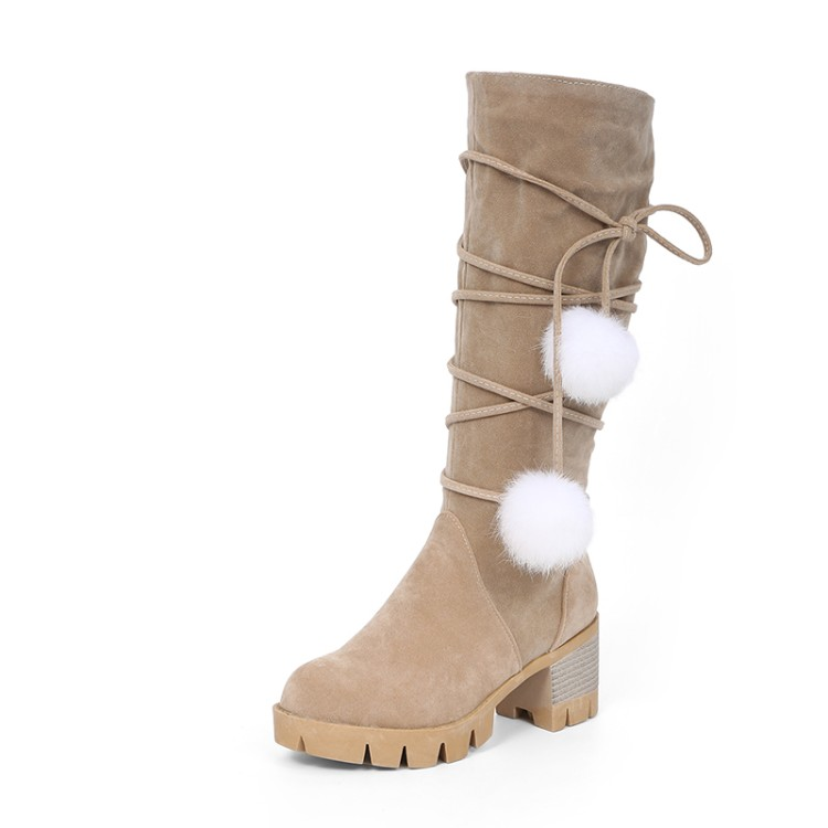 2017 Winter Boots Big Size 33-43 New Round Toe Boots For Women Heels Fashion Autumn Winter Shoes Casual Snow boots 999-2 doratasia big size 34 43 women half knee high boots vintage flat heels warm winter fur shoes round toe platform snow boots