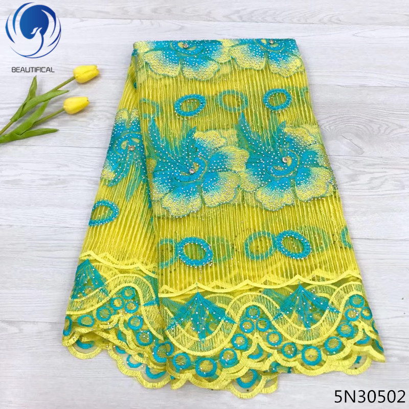 Beautifical yellow lace fabric wedding tulle rhinestones lace 5yards per lot nigerian lace fabric 2018 high quality lace 5N305