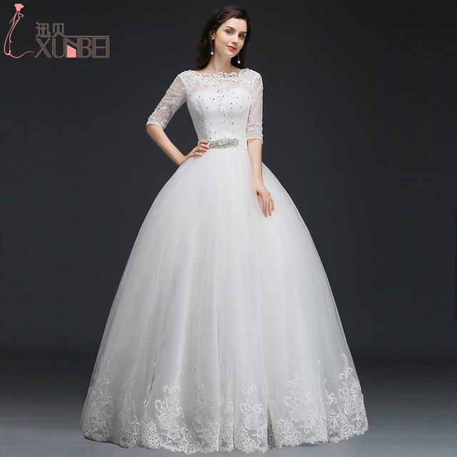 Princess Style Ball Gown Lace Wedding Dresses 2017 Half Sleeves ...