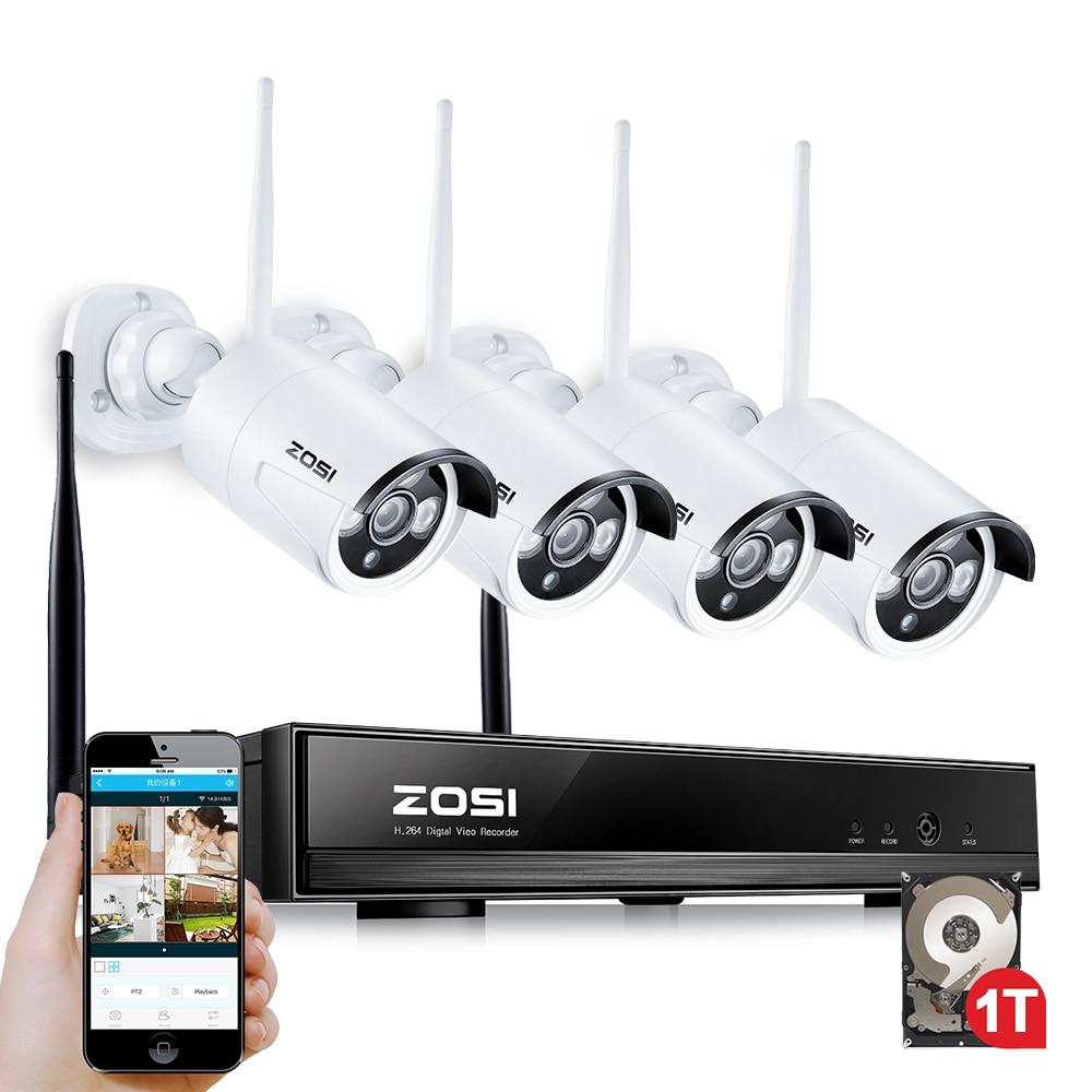 ZOSI 4CH CCTV System 1080P NVR 4PCS 1.3 MP IR Outdoor P2P Wireless Wifi IP CCTV Camera Security System Surveillance Kit 1TB HDD 4ch nvr 1tb hdd hard disk 4pcs 1 0mp ip camera ir weatherproof outdoor 720p cctv camera security system surveillance kit