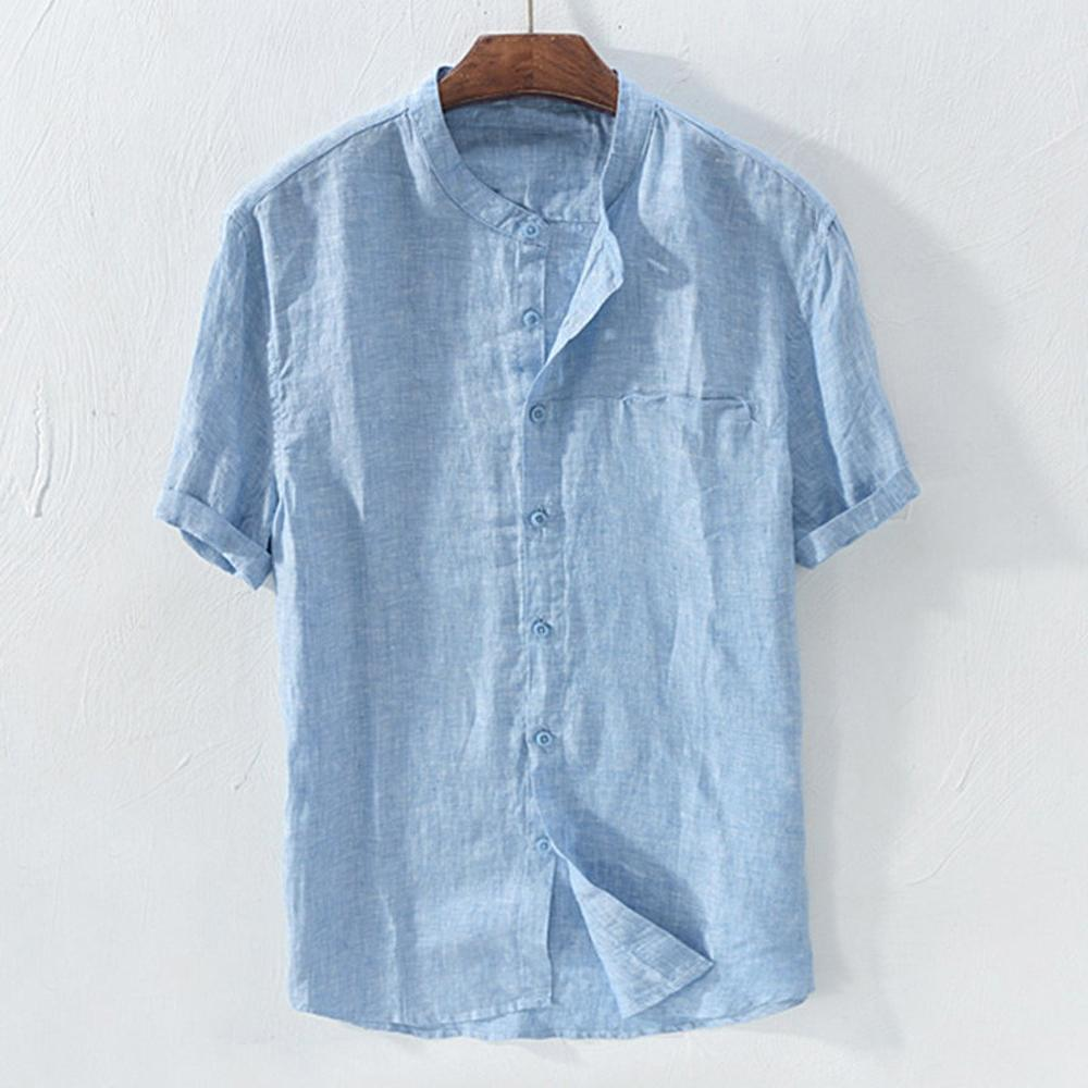Summer Men/'s Standing Collar Retro Cotton Linen Short Sleeve Shirts Tops Blouse