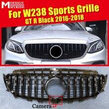 цена на E-Class W238 Coupe C238 GT R Style Front Grill Grille ABS Gloss Black W/Camera E200 E250 E300 E350 400 500 E63 Look Grills 16-18