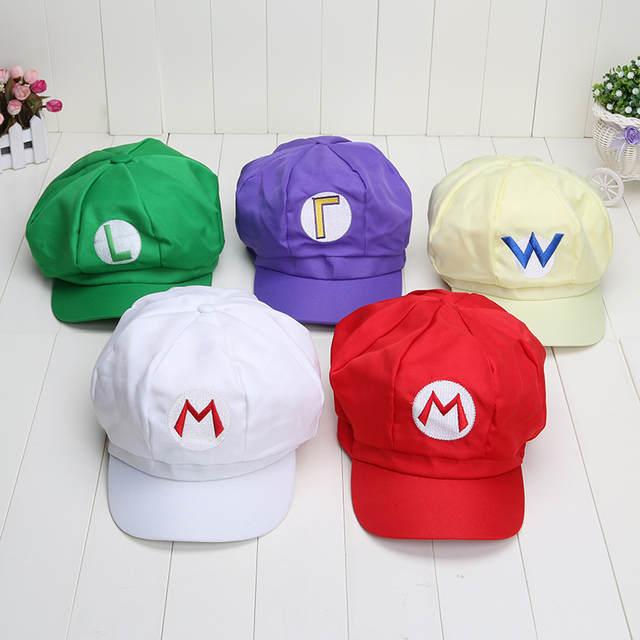 c8a13192868 Super Mario 5colors Mario Luigi Wario Waluigi Hat Super Mario Bros Cosplay  Adult cap plush toys