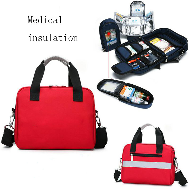 Outdoor First Aid Kit Refrigeratible Sports Red Nylon Waterproof Cross Messenger Bag Family Travel Emergency Medical Bag DJJB021