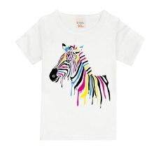 3bd595c45178c 1-8 ans aquarelle arc-en-ciel zèbre impression t-shirt filles belle style  offre spéciale cheval chemise confortable doux t-shirt.