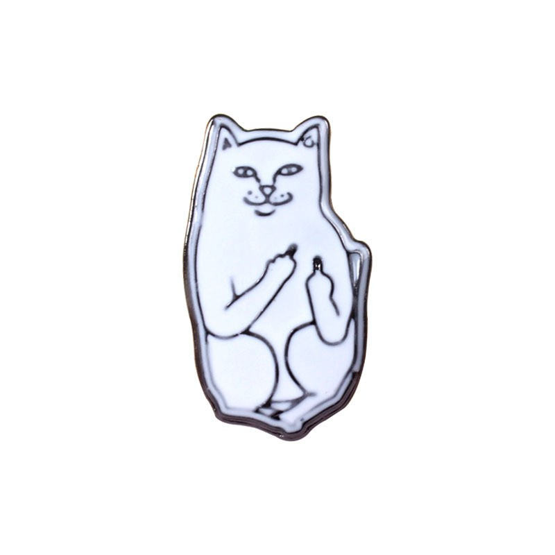 1PC Fashion European Alloy Funny Cat White Cat Brooch Pins For Women Suit Lapel Pins Brooches Collar Jewelry Accessories