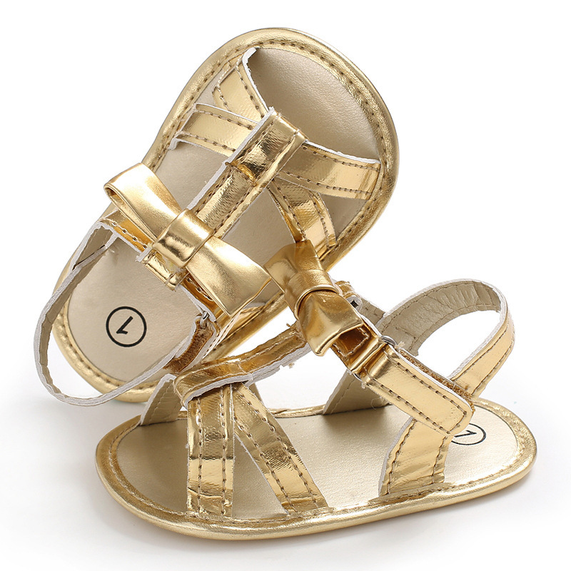 Raise Young PU Leather Summer Baby Girl Sandals Gold Breathable Non-slip Newborn Girl Shoes Toddler Footwear 0-18M