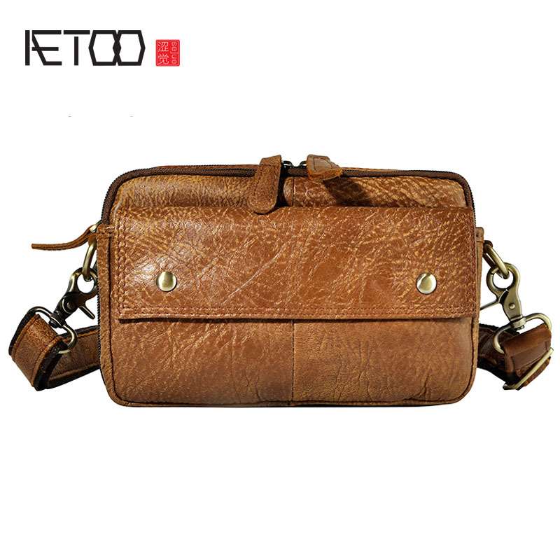 AETOO The first layer of oil wax leather leather men's tide cool mobile phone camera 7-inch chest bag purse aetoo first layer of leather korean version of the tide ladies oil wax leather handbag ladies shoulder messenger bag