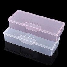 Plástico transparente prego manicure ferramentas caixa de armazenamento prego pontilhando desenho canetas buffer moagem arquivos organizador caso recipiente caixa