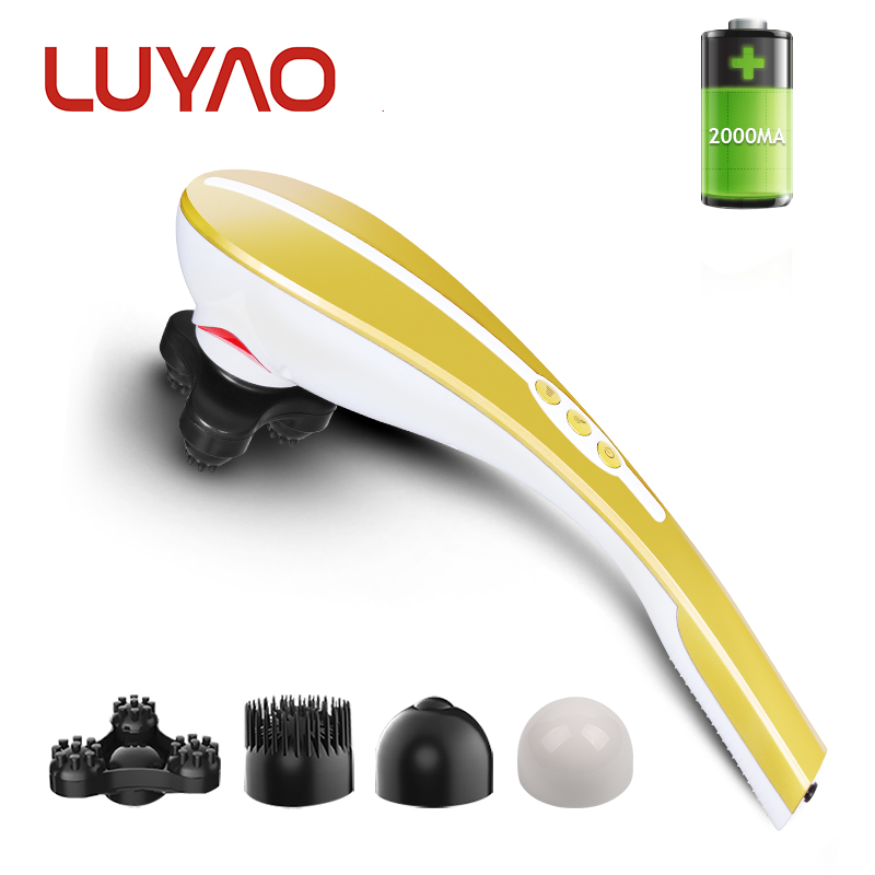 LUYAO Wireless Rechargeable Electric Handheld Massage Stick Vibrating beating Infrared Vertebra Shoulder Back Neck Massager handheld electric head neck lumbar back live dolphins massager acupuncture point massage stick am45