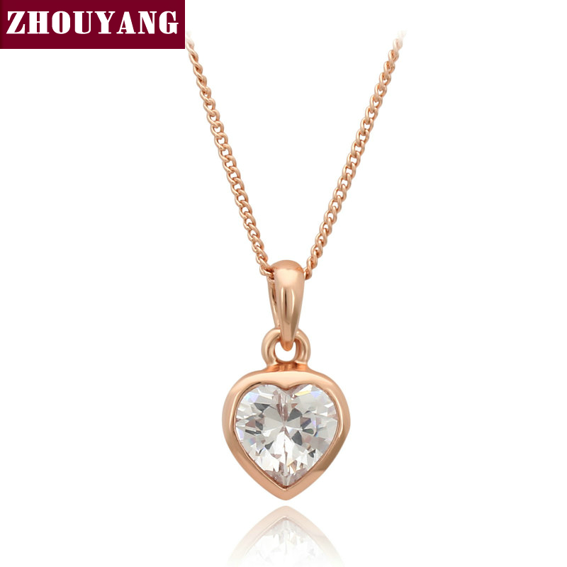 Top Quality Heart Crystal Rose Gold Color Fashion Pendant Jewelry Made with Austria Crystal Wholesale ZYN129 ZYN130