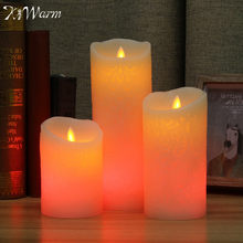KiWarm Hollow Flower Pattern Electronic LED Candles with Remote Control Room Night Light for Wedding Christmas Dinner Decor Gift(China)
